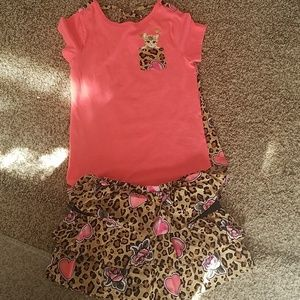 Little Girls size 6 cheetah print skort outfit